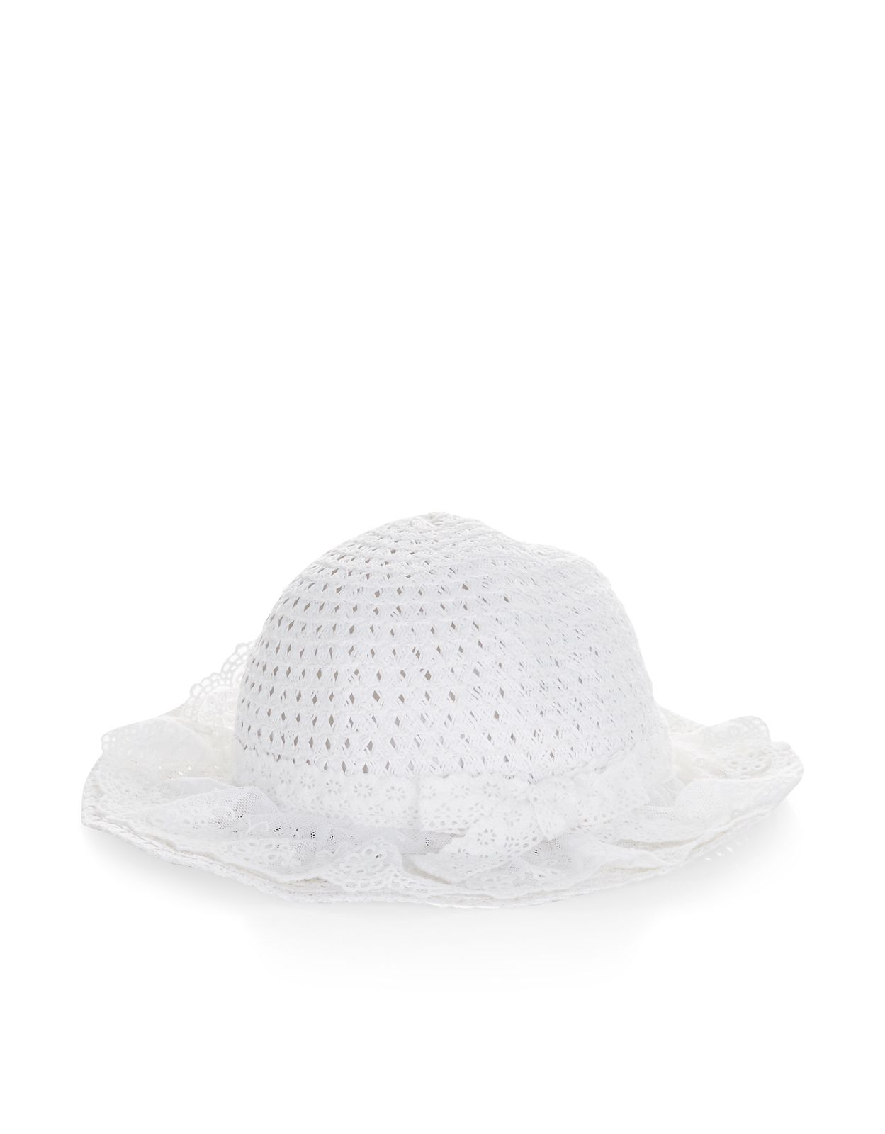 This pretty floppy hat for baby girls is decorated with lace trims and frills, and is perfect for days out in the sunshine.