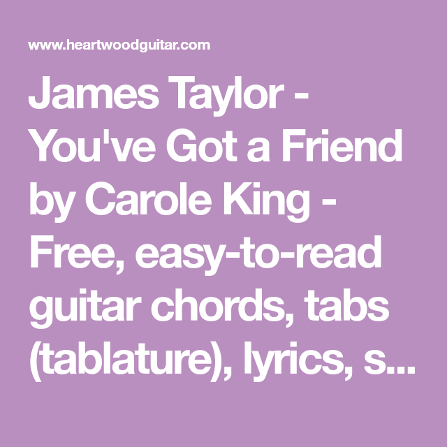 James Taylor - You\'ve Got a Friend by Carole King - Free, easy-to ...