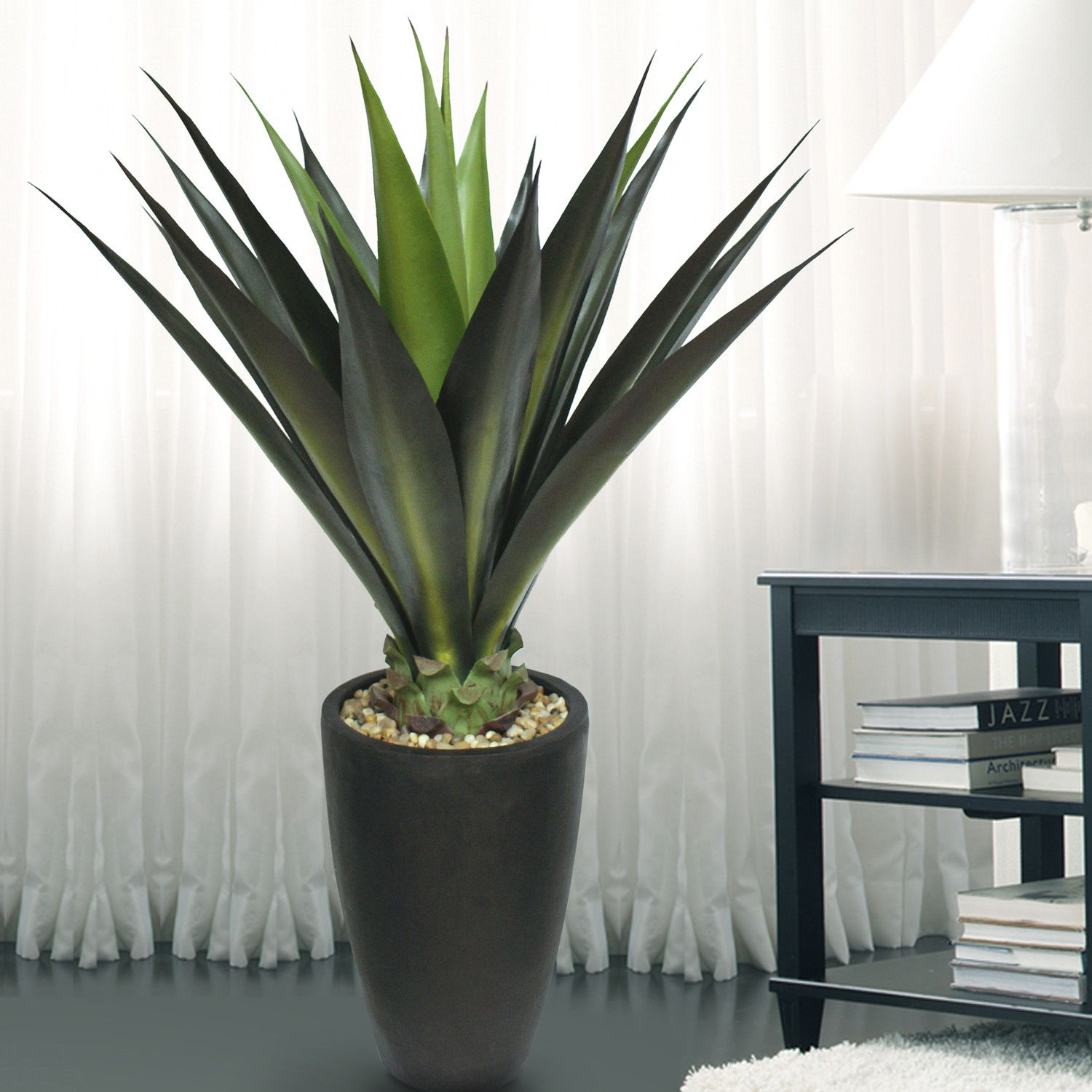 Laura Ashley Home Tall High End Giant Aloe Floor Plant in Planter ...