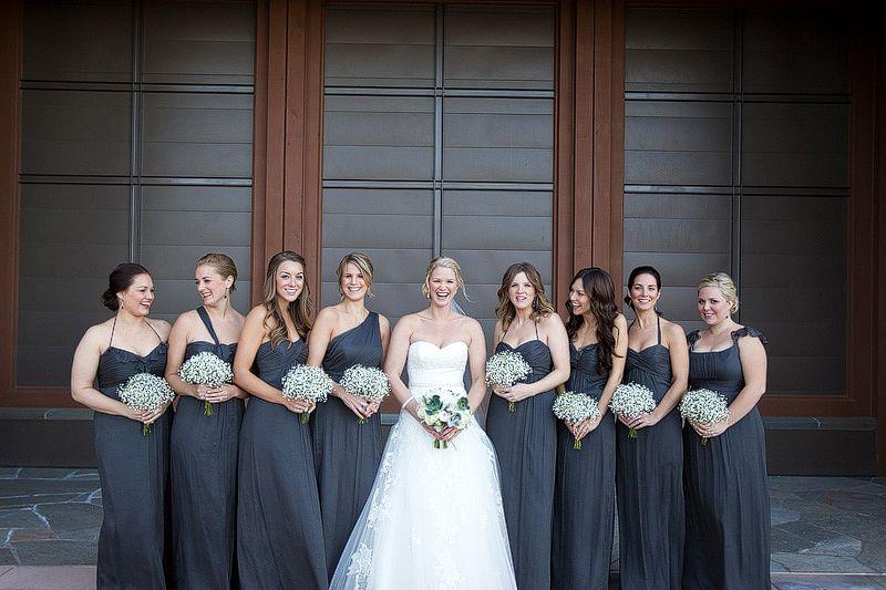 Pretty Dark Grey Charcoal Bridesmaid Dresses