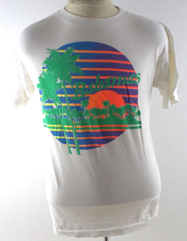 4d838363f64ac 80s Bahamas Surf Palm Tree Sunset Tourist Vintage T Shirt Large   XL by  FlashbackSnapshots on