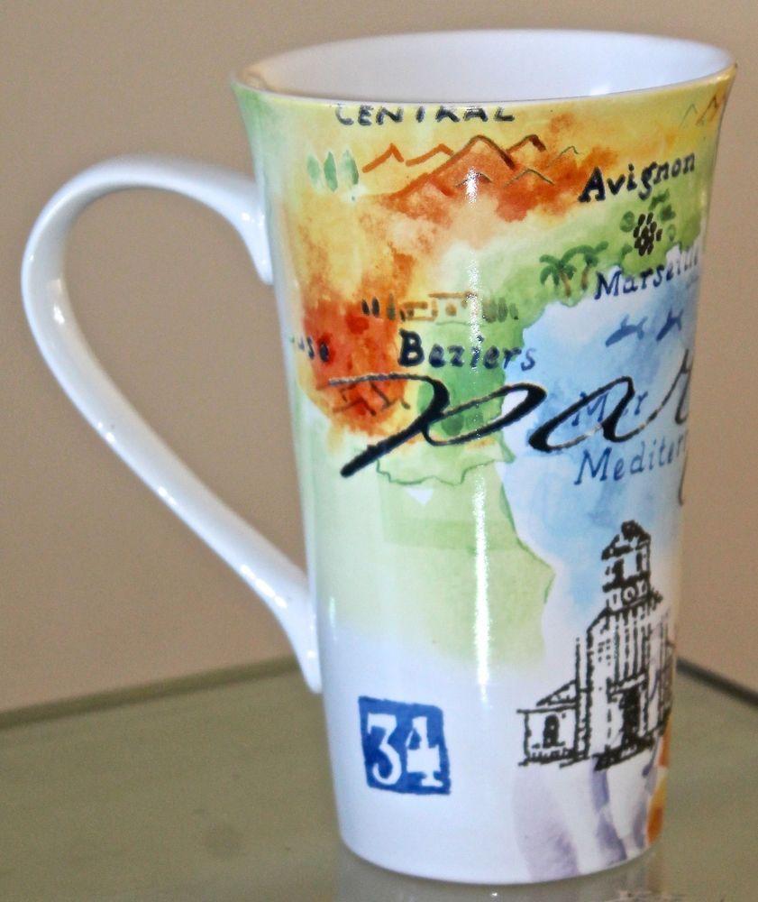 Paris Travels Latte Mug Coffee Tall Porcelain