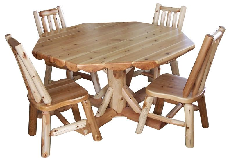 Solid Wood Round Table Set: Round Rustic Dining Table Set Amish Cedar Log Home Cabin