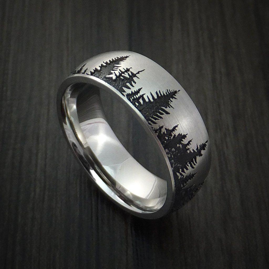 Cobalt Chrome Tree Hunter Ring Custom Made Moissanite
