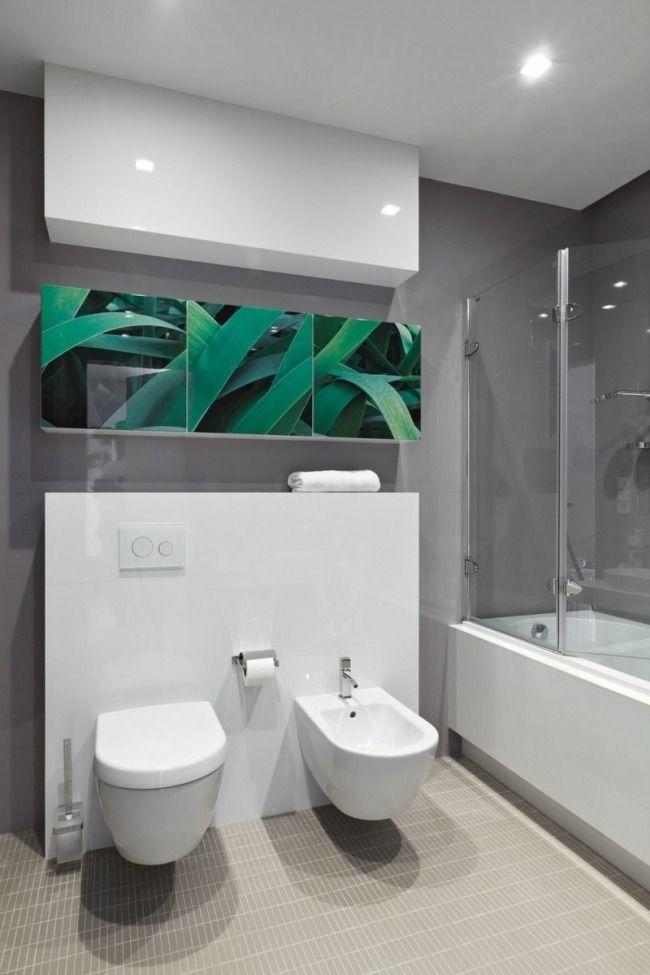 modernes badezimmer weiße möbel graue wände dekor pflanzen foto ... - Moderne Badezimmer