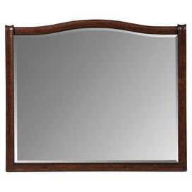 "Beveled landscape mirror with a hand-applied walnut finish and curved top. Made in Indonesia.  Product: MirrorConstruction Material: Wood and mirrored glassColor: WalnutFeatures:  Hand-applied finishCrafted in Indonesia Dimensions: 37"" H x 44"" W"