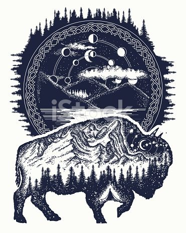 69916b052 Bison and mountains tattoo art. Buffalo bull travel symbol, adventure  tourism. Mountain, forest, night sky. Magic tribal bison double exposure  animals