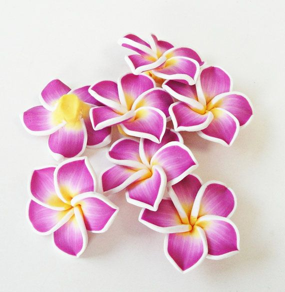 Purple Yellow Soft Clay Flowers pendants 2 Pieces by BijiBijoux, $2.50