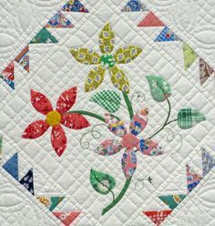 flower applique center block in a quilt - Google Search   applique ... : applique quilt patterns flowers - Adamdwight.com