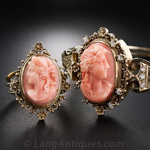 Victorian Coral Cameo Bracelet and Ring - 40-1-4024 - Lang Antiques