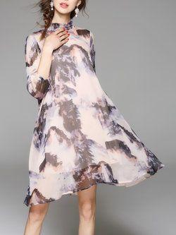 Stand Collar Silk Two Piece Casual 3/4 Sleeve Mini Dress