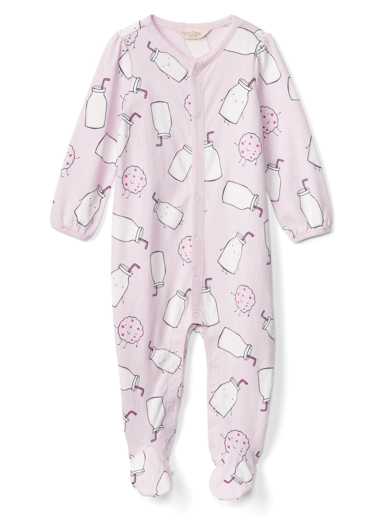 fa3eb9270bc5 Organic milk and cookies footed one-piece