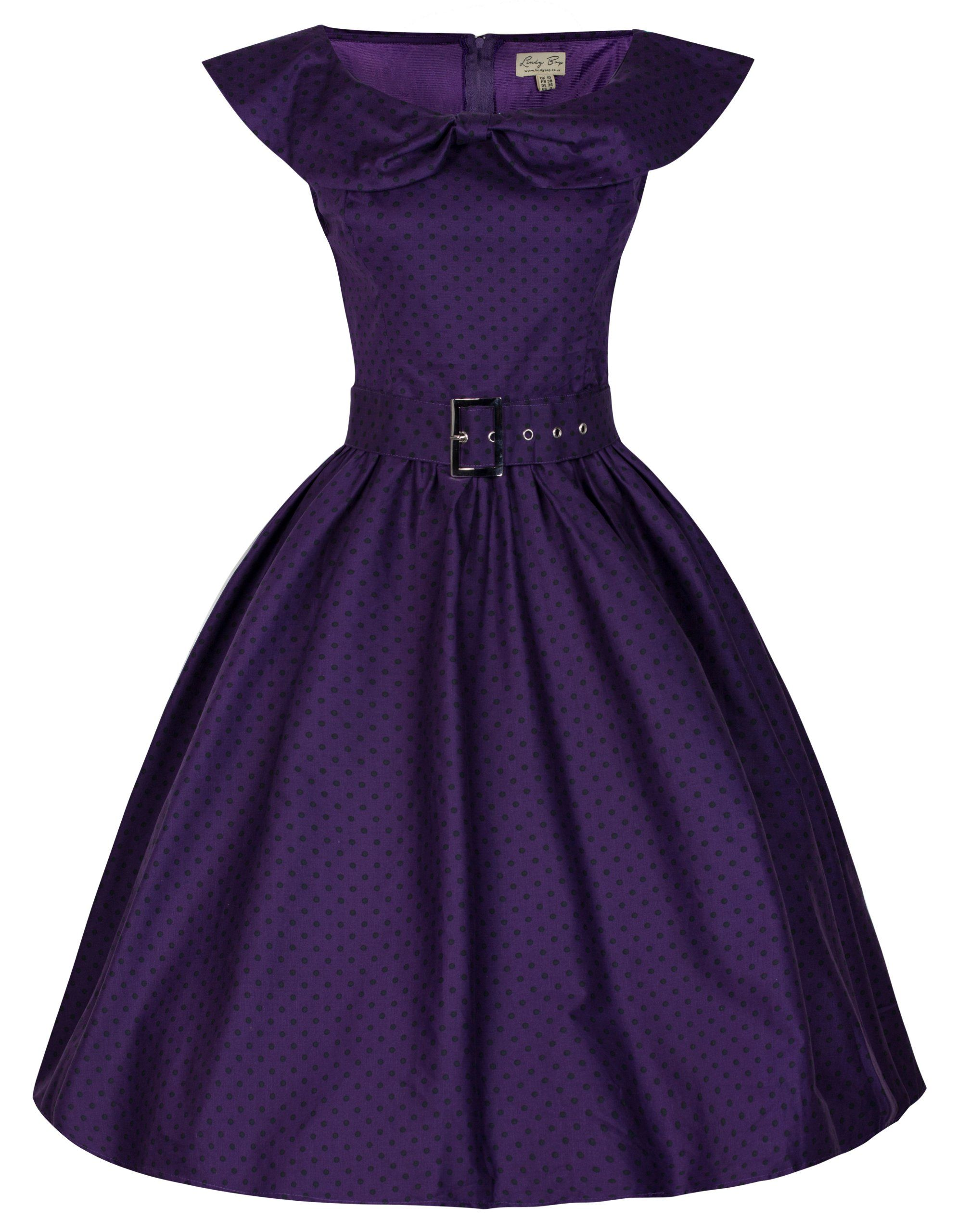 a7a83ebce4a8 Lindy Bop 'Hetty' Polka Dot Bow Shawl Collar Vintage 1950's Rockabilly  Swing Dress at Amazon Women's Clothing store: