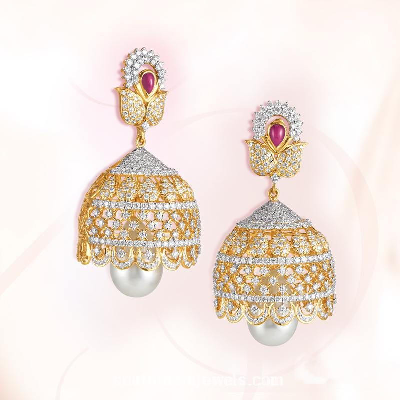 c0cd2143f Classic diamond jhumka model from GRT Jewellers. For inquiries please  contact +914423461551.