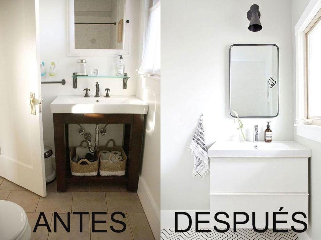 El inspirador Antes y Después de este cuarto de baño esta ...
