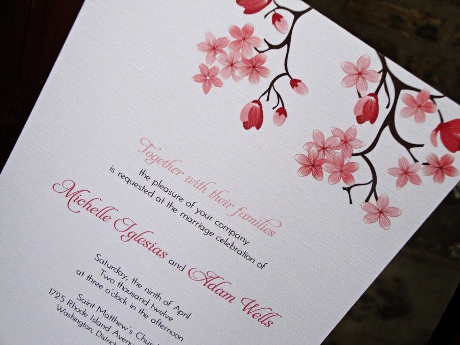 Printable Cherry Blossom Wedding Invitation by fullydesigned ...