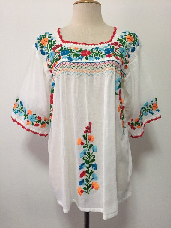 f63d4c0ae88a8 Embroidered Mexican Blouse White Cotton Top Boho Blouse Hippie Top ...