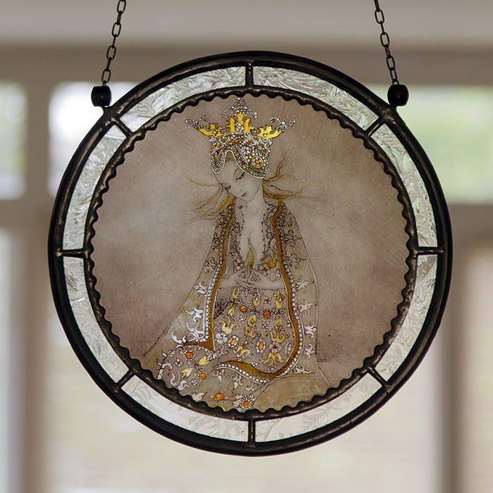 Princess stained glass, princess suncatcher, fairytale suncatcher, fairy, princess,  dreamworld, fairytales, kilnfired glass, original gift door StainedGlassElements op Etsy