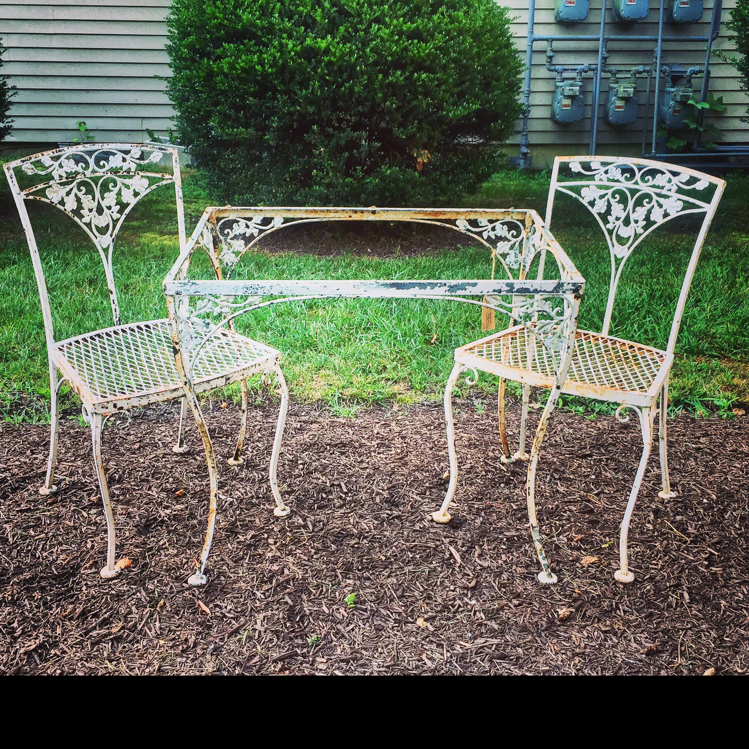 Woodard Orleans Wrought Iron Set Table And 2 Chairs Orleans