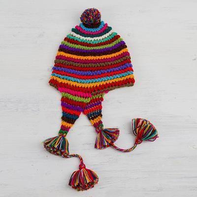 bf2fe57b4 Striped Multicolored Alpaca Chullo Hat with Pompom from Peru ...