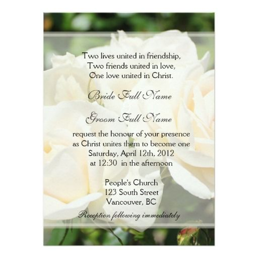 Pure White Rose Flowers Christian Wedding Invitation Zazzle Com