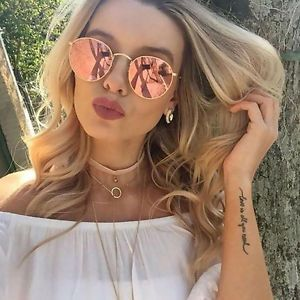 893ddd5304 NEW RAY BAN ROUND RB3447 112 z2 50mm Gold Frame Copper Mirror Lens - Rose  Gold