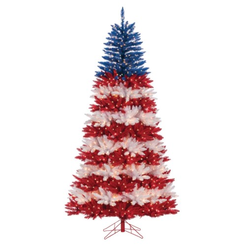 Sterling American Patriotic Full Pre-lit Christmas Tree, Blue
