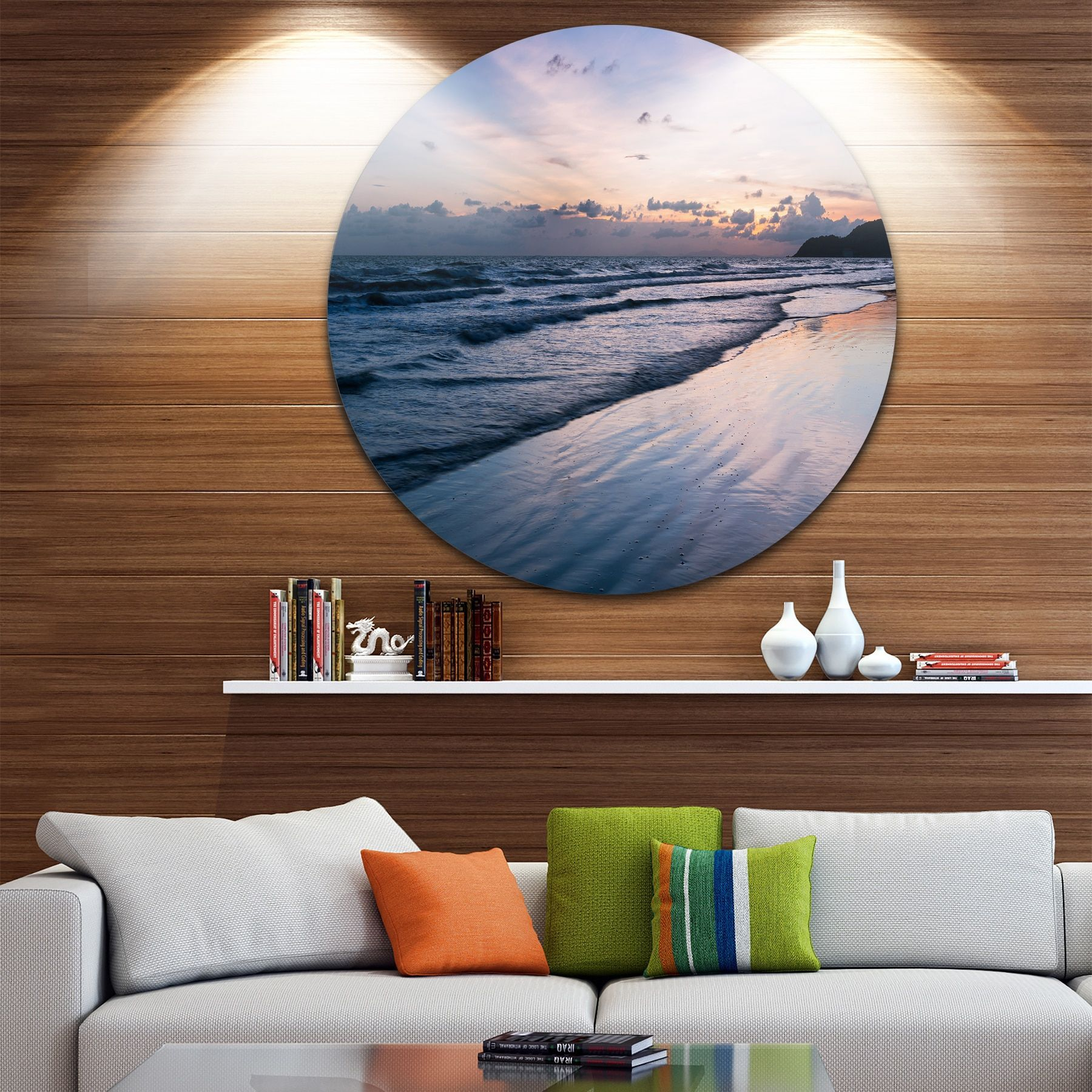 Designart ublue sunset sea waves thailandu beach disc metal wall art