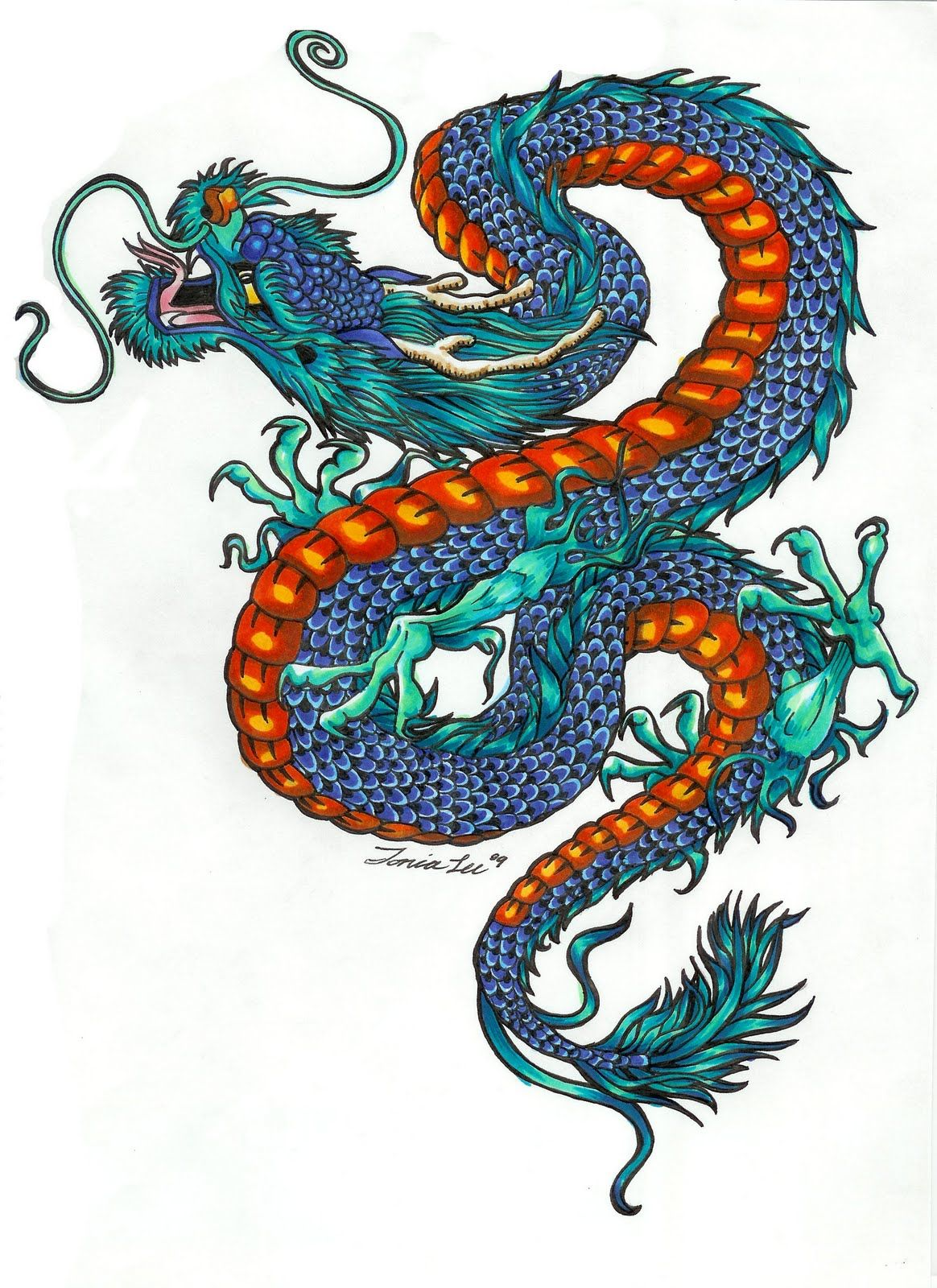 Color Dragon Tattoo Design With Colors
