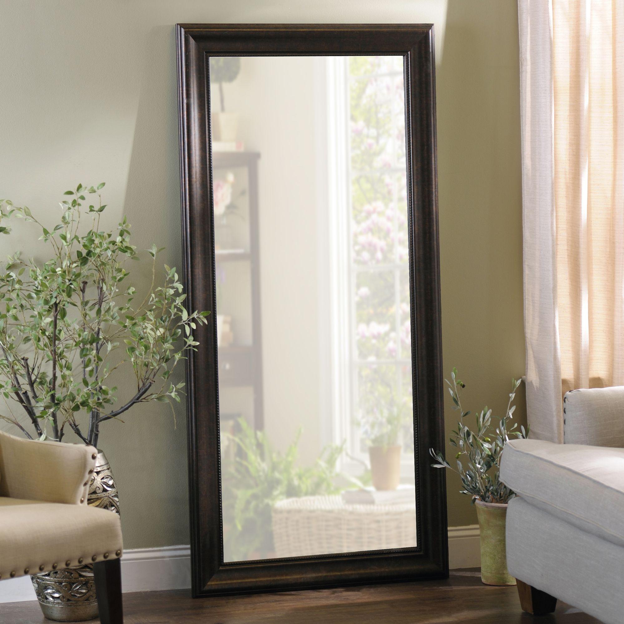 Beaded Bronze Framed Mirror 32x66 In Mirror Frames Mirror