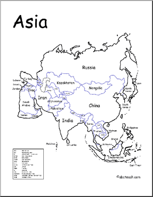 a printable map of the continent of asia labeled with the names of