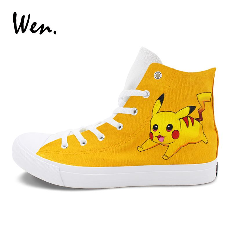 Wen Lightning Pikachu Hand Painted Shoes Anime Pokemon Design High Top Skateboarding Shoes Men Women Flat Sneakers. Yesterday's price: US $79.00 (64.71 EUR). Today's price: US $50.56 (41.79 EUR). Discount: 36%.