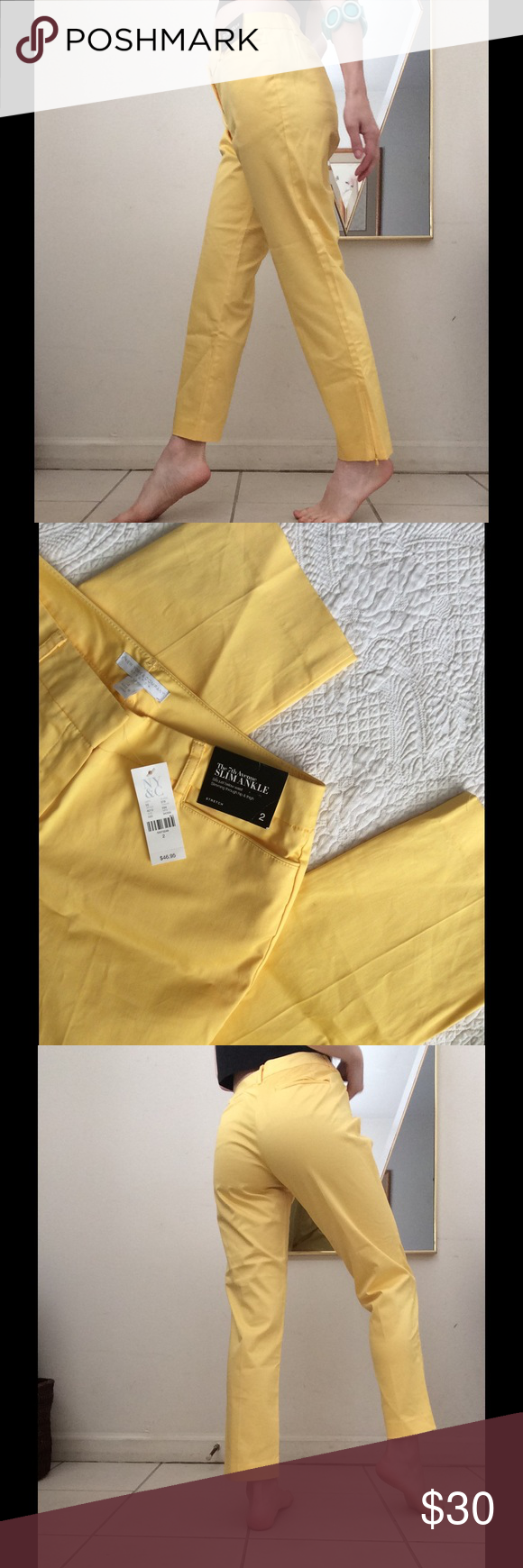NY & Co. Mellow Yellow Zip Ankle Capris Slacks Excellent-New condition. No stains or holes. Smoke free home. Suit style back pockets. Zippers on hems. Adorable sexy flood pants for summer. Skinny leg. Shine bright this summer vacation. Sunny. Wear for a picnic in the sunshine. Classy. Happy basic. New York & Company Pants Ankle & Cropped