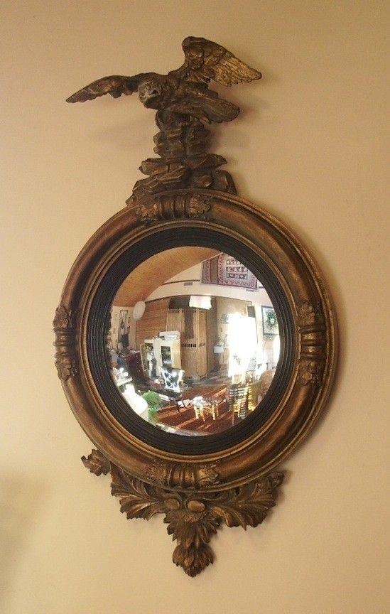 Espejo redondo, marco pesado, motivo águila, convexo cristal siguen ...