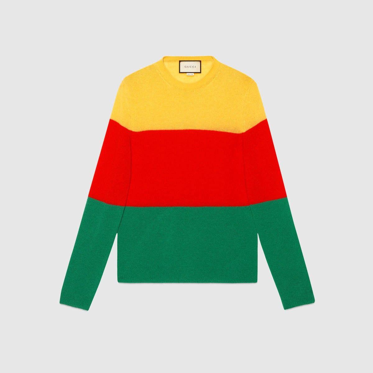 df04f72e8 GUCCI Cashmere Striped Crew Neck Sweater - Yellow, Red And Green Cashmere. # gucci #cloth #all
