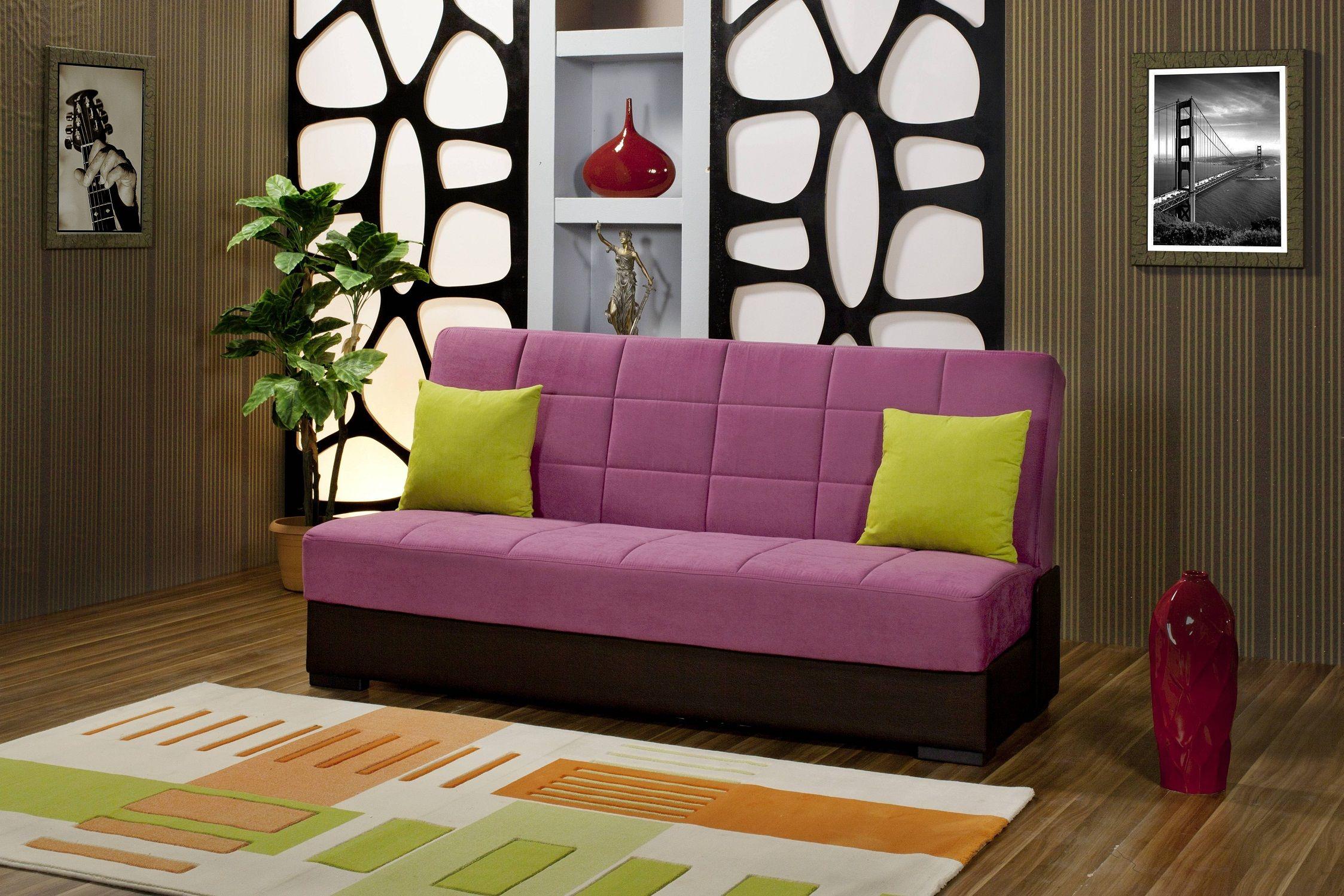 Furniture Present Purple Foam Single Sofa Bed Chocolate
