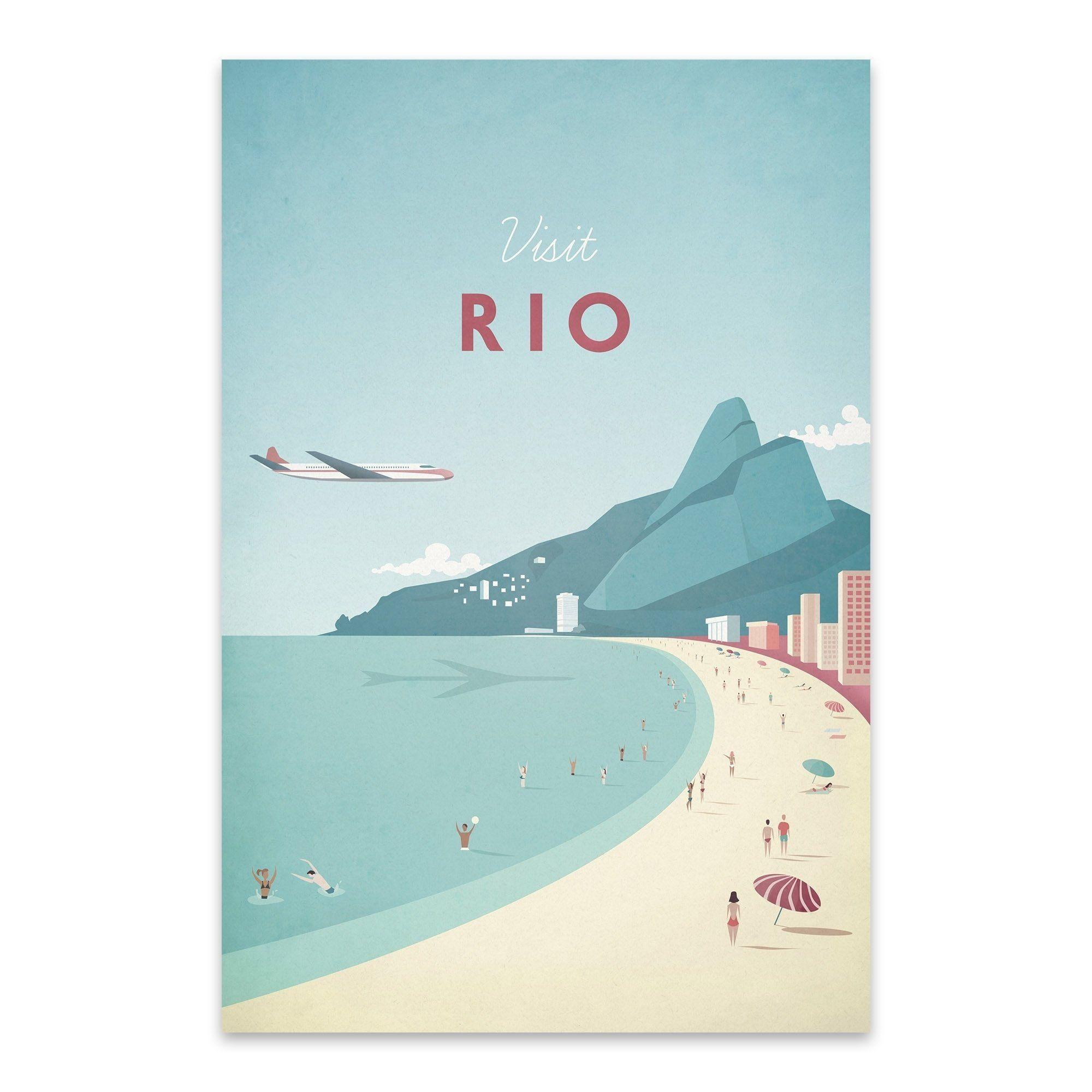 Henry Rivers Rio Noir Gallery Minimal Travel Poster Rio Brazil Metal Wall Art Print 20 X 24 Mult Travel Posters Vintage Travel Posters Retro Travel Poster