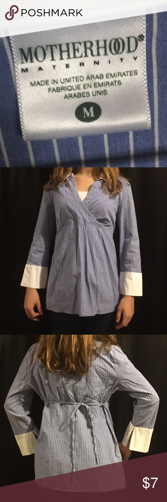 """Maternity Top Blue & white striped with white cuffs & colar, ties in back,should width 5"""", sleeve length 19"""", cuff width 5 3/4"""", neck width 5 1/2"""",v-cut length 10-10 1/2"""",full length front & back 24 1/2"""". Motherhood Maternity Tops"""