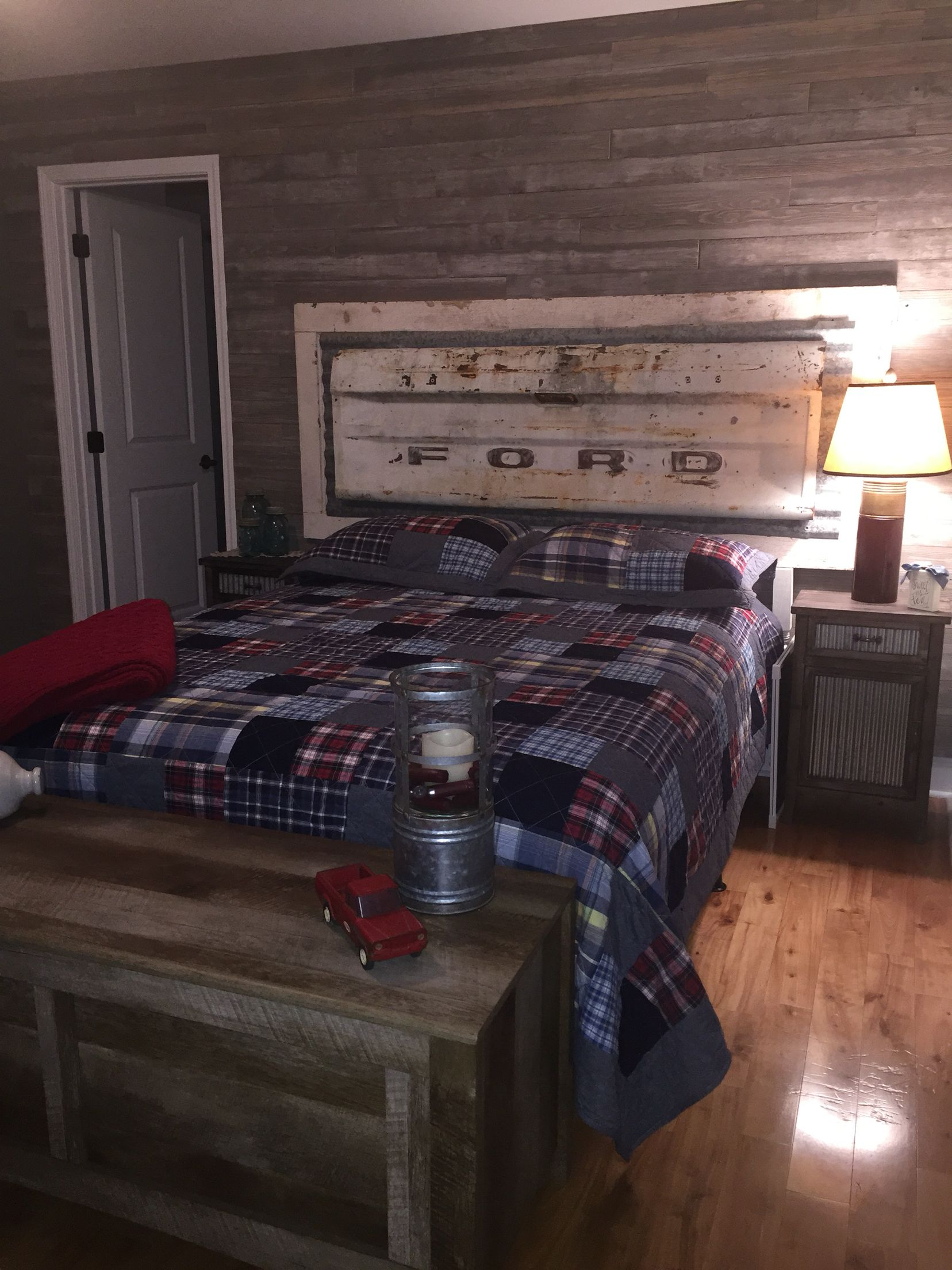 Barn wood wall and tailgate headboard | home decor | Pinterest