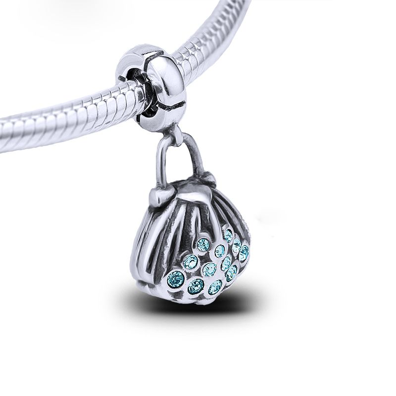 DIY Silver shell CZ Charm Beads Pendant Fit sterling Bracelet Necklaces Chain
