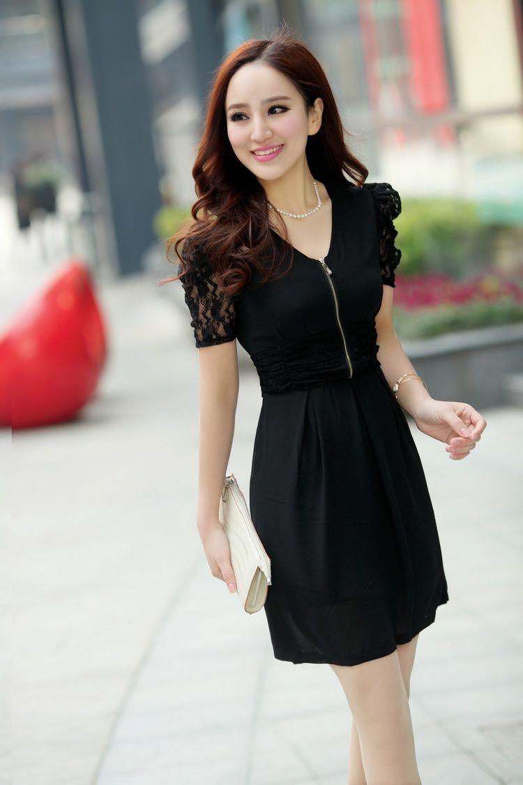Cute Chiffon Dress Short Lace Sleeves Gathered Waist Yrb0398 Chiffon Dress Short Short Lace Dress Dresses [ 1125 x 750 Pixel ]