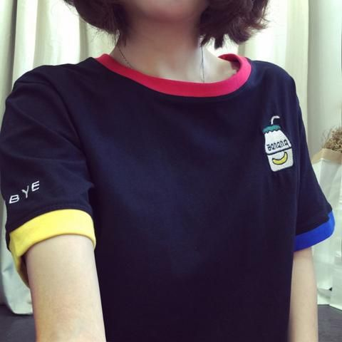 414dcf5ff0af 2018 Women Girls Casual Short Sleeve Cartoon Pattern Hit Color T-shirt  Loose Big Size