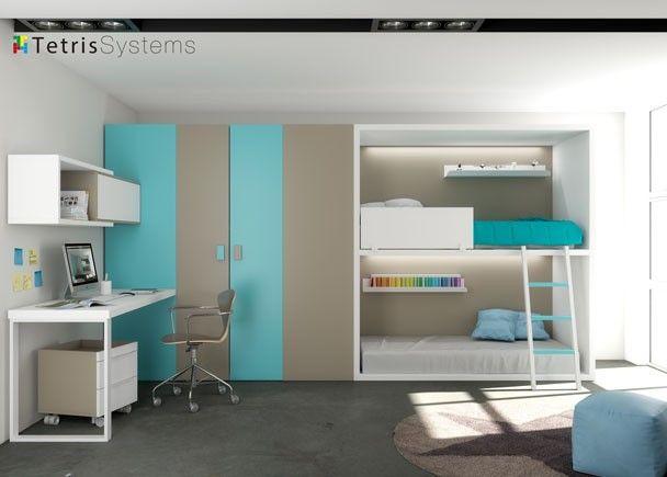 Literas rubbik con armario cabina y escritorio novedades for Literas juveniles con escritorio