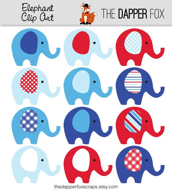 Red And Blue Elephant Clip Art   INSTANT DOWNLOAD   Boy Baby Shower Clipart  Elephants