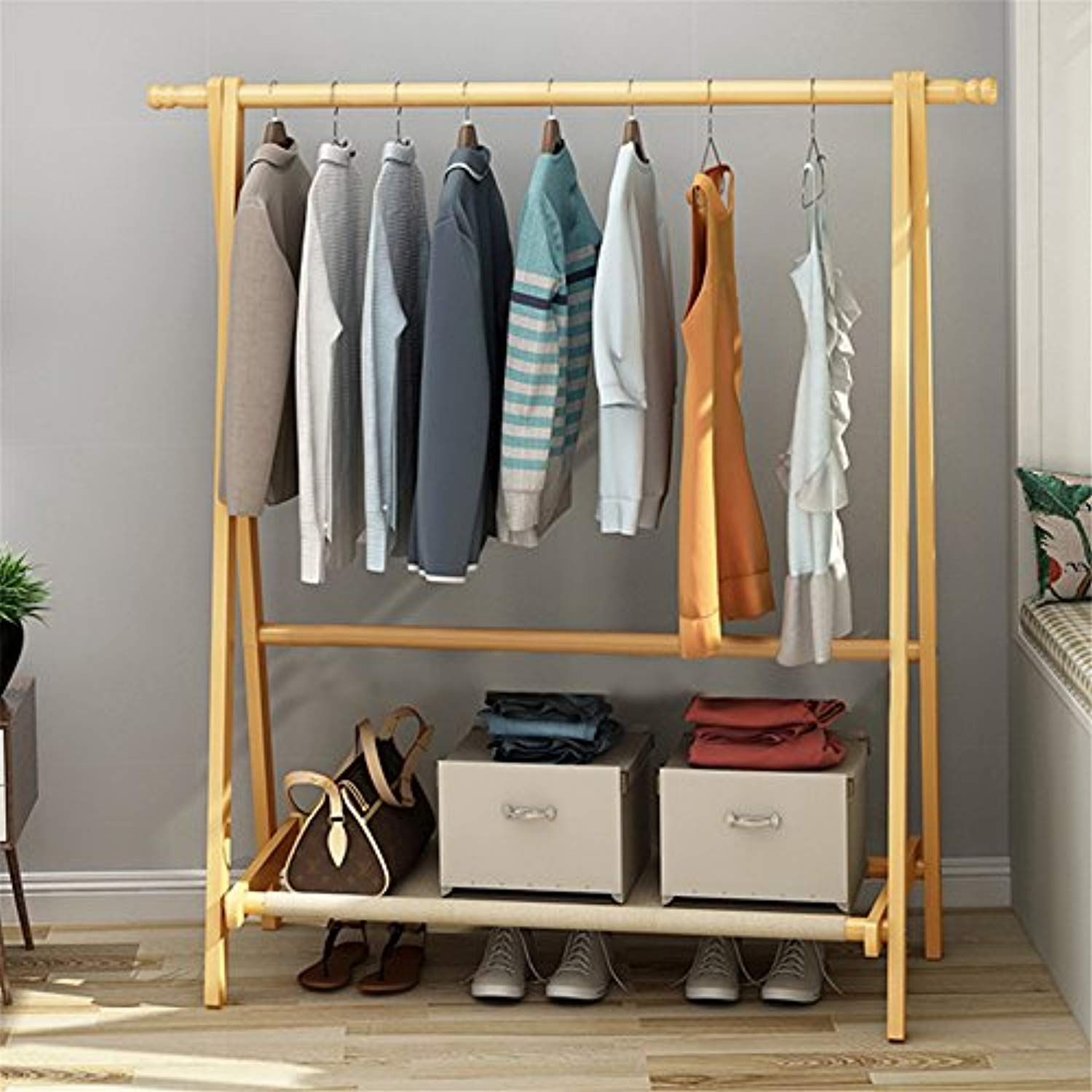 Dlandhome solid wood clothing garment rack entryway free standing