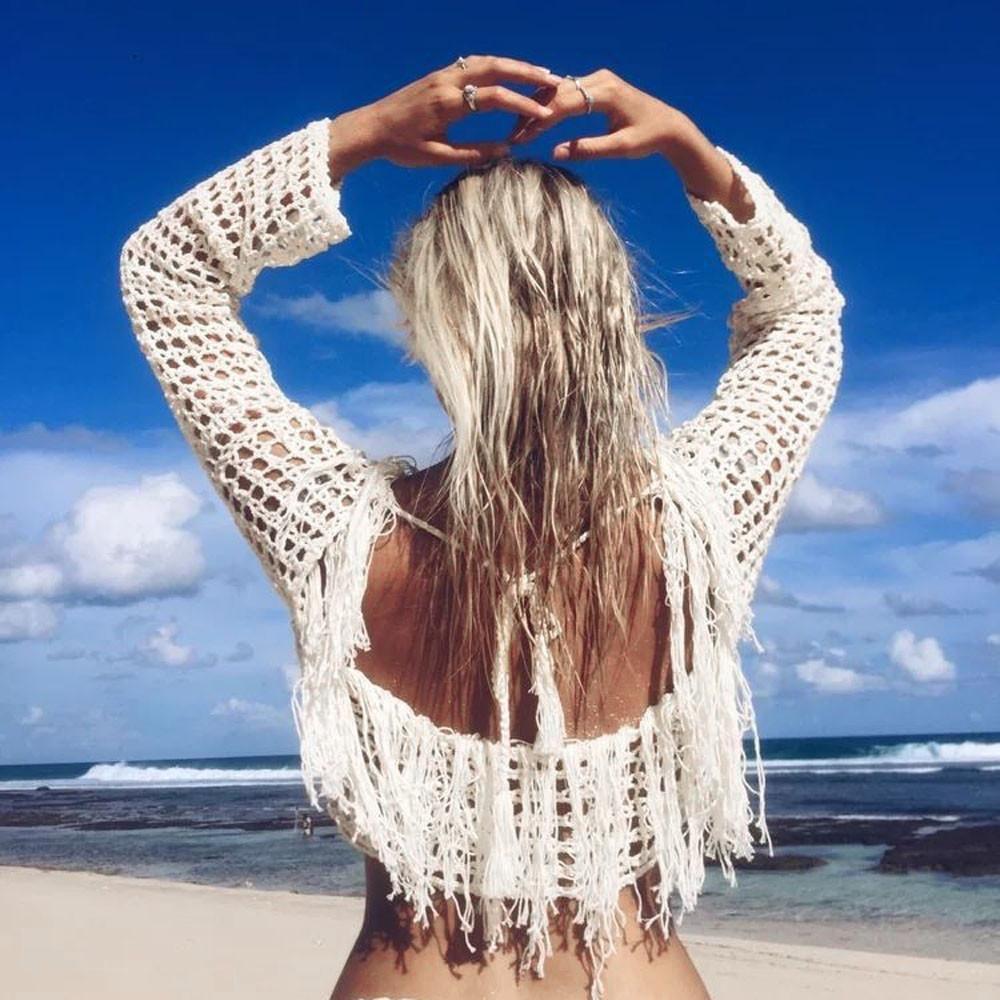 beach luxury knitted crochet tassel fringe bikini cover up