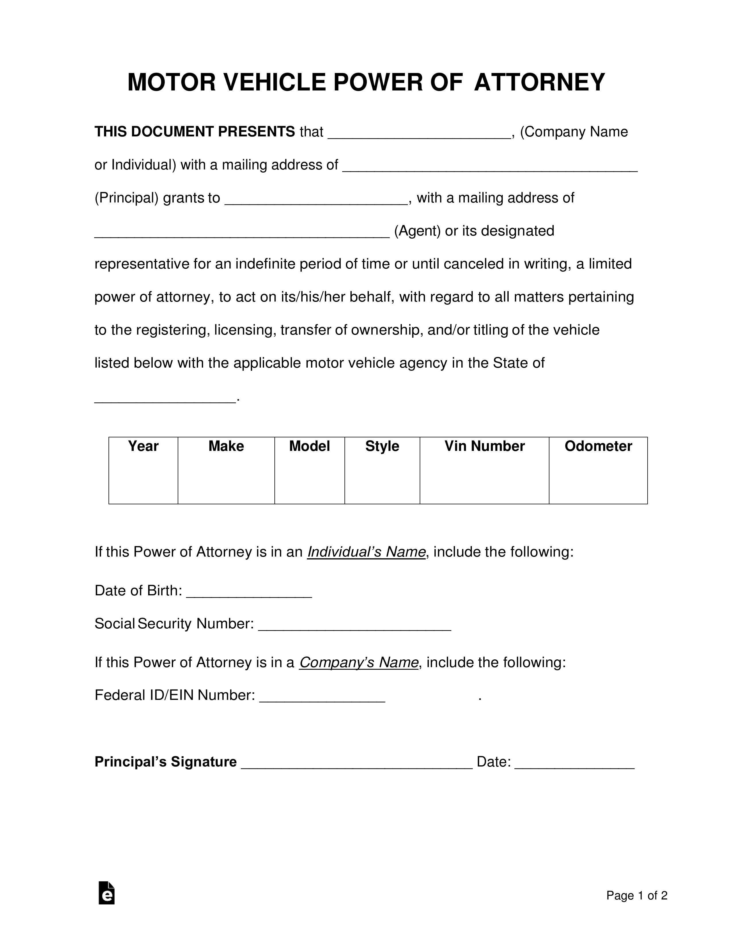 Free Motor Vehicle Power Of Attorney Forms Pdf Word Eforms Free Fillable Forms Power Of Attorney Form Power Of Attorney Attorneys