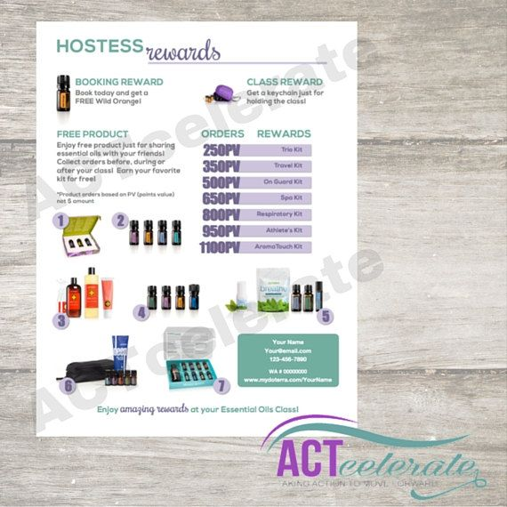 doTERRA Hostess Rewards Personalized Printable by ACTcelerate ...
