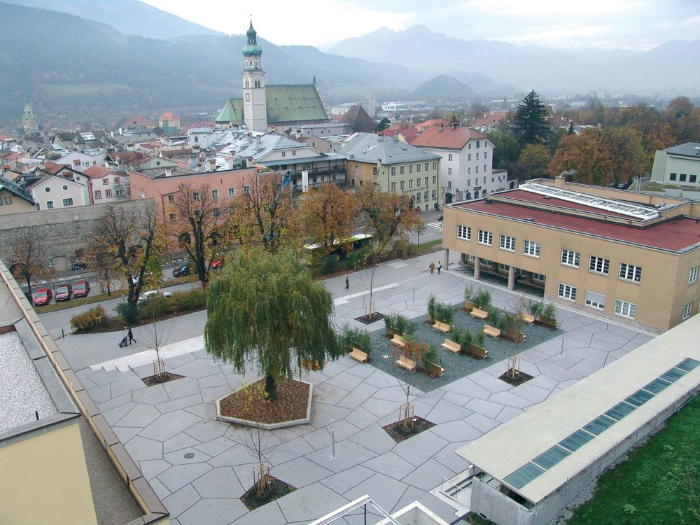 Contemporary Landscape Architecture Projects auboeck-karasz-landscape-architecture-town-square-hall-tyrol-01