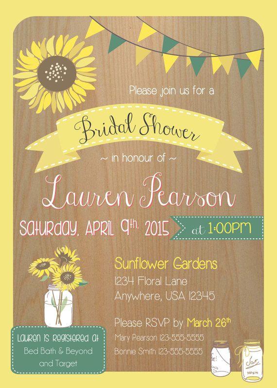 Sunflower Bridal Shower Invitation, Printable Sunflower Invitation